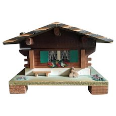 MAPSA Swiss movement wood chalet music box - plays Edelweiss