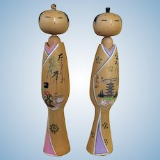 Vintage graceful kokeshi pair with geisha and summer fireworks - full moon and pagoda
