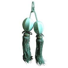 Vintage pair of Kutani Japan hanging scroll weights - Fuchin Kakejiku - celadon beads with teal tassels
