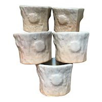 5 Vintage hand made sake (rice wine) cups from Japan - tree branch sections