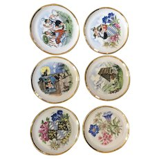 Vintage ceramic coasters (6) by Schumann Arzberg Bavaria with whimsical images of the mountain countryside