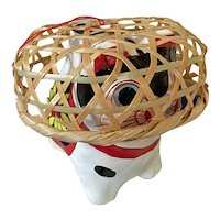 Vintage papier mache dog with basket on his head - Japanese amulet for children