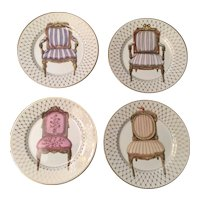 Vintage Chaise by Fitz & Floyd - 4 fine porcelain salad plates with chair pattern made in Japan - in original boxes