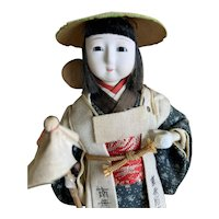 "Vintage 7"" Japanese woman making a pilgrimage doll for grief"
