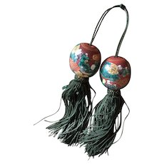 Vintage painted bead scroll weights with dark green tassels