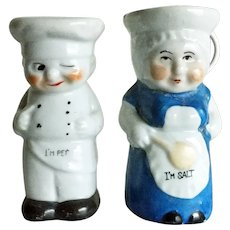 Vintage cook couple with winking chef - salt and pepper  shakers made in Japan