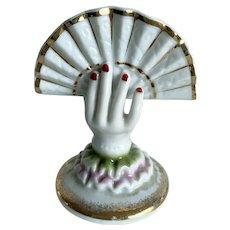 Vintage Ardalt Japan porcelain hand holding fan - for cigarettes -6627