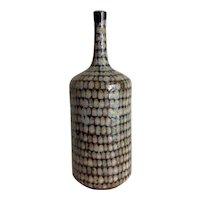 Armando Bernabe R earthenware bottle bud vase with net pattern glaze