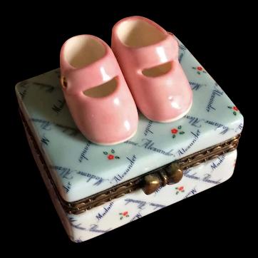 Madame Alexander pink doll shoes porcelain box in original box