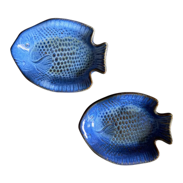 Vintage - 2 blue fish sauce dishes made in Japan