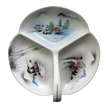 Vintage Kutani Japan divided dish with handle - three mountain scenes with pagodas, water wheel, bridge