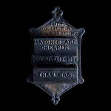 Vintage Iron Art match holder Pat. Jun 13`1899