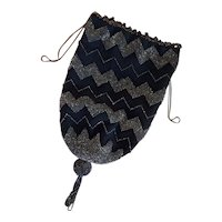 Antique black crocheted drawstring bag (second) with faceted seed beads, beaded tassel and chain drawstring handles - zigzag