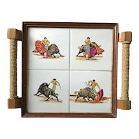 Vintage matador bullfighter tile tray with rope-wrapped handles