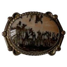 Vintage moss agate brooch