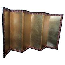 Vintage hina doll byobu folding screen - gold foil with decorative border