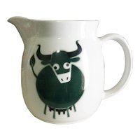 Arabia Finland large green ox or cow pitcher