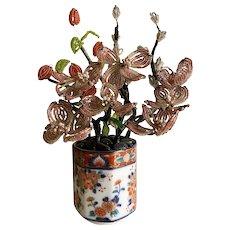 Vintage beaded flower arrangement in Imari pot