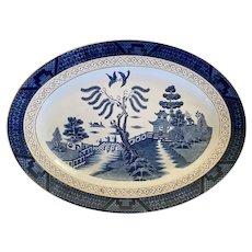 Vintage Double Phoenix large oval platter blue and white - Nikko Ironstone Japan