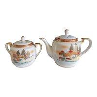 Vintage 1950s CPO Central Purchasing Office US Army & Navy bases Kutani teapot and sugar bowl - JAPAN