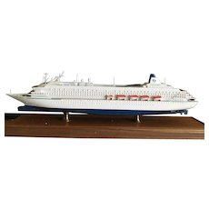 Vintage Crystal Harmony Cruise Ship model in original acrylic and wood case