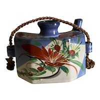 Vintage earthenware teapot style Japanese vase for table top or wall hanging