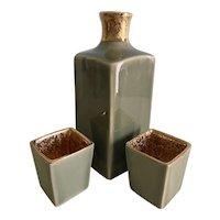 Vintage Arita Hizen sake server and 2 cups in original box - celadon with gold