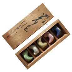Vintage ceramic bird hashioki chopstick rests from Japan in original wooden box
