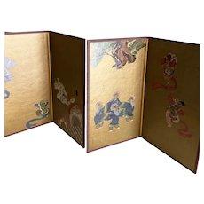 Souvenir tabletop byobu pair (folding screens) from the Kyoto National Museum in Japan