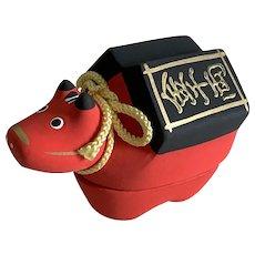 Vintage akabeko (red cow ox) bisque ceramic KOGO (incense holder) made in Japan