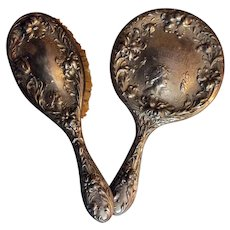 F & B sterling Art Nouveau brush and mirror for vanity - engraved Emma Lilley