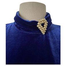 Vintage faux pearl unsigned dress clip - chevron shape