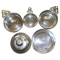 Collection of  Five  Colonial Williamsburg &  Kirk Stieff Pewter Objects   1970's