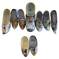 Five Antique French Faience Shoes and Two Pairs of French Faience Shoes  = 9 Shoes in all..  Various Potteries