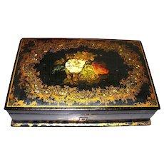 Antique English Papier Mache Box Mother-of Pearl  London label circa 1850