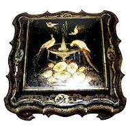 "Large Antique English Papier Mache & Mother-of -Pearl  Box Rococo Design 'Birds & Water Fountain""  circa 1850s"