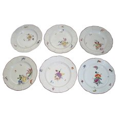 8 Antique Ludwigsburg Meissen-Style Plates/Bowls with Basket Weave Borders  circa 1776   marked