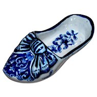 "Antique French Faience ""Mosanic""  Tin-Glazed Dutch Shoe  circa late 1800's"