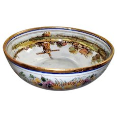 Vintage Delft Serving Impressionistic-Style Hand-Painted Water- Colour Technique  Bowl