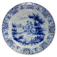 """Antique Delft Faience Charger by Albrecht de Keyser  of  Lovers in Country-Side Picnic  16th /17th Century  16 """""""