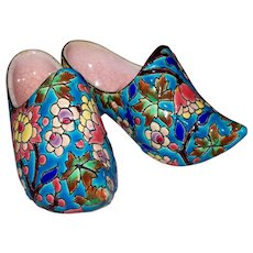 Antique Pair French Faience Longwy Emaux Dutch Enamelled Shoes  circa 1897