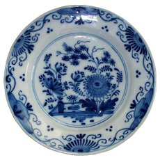 "Antique 18th Century Delft  Chinoiserie  "" Happy ""  Tin- Glazed Plate  9"""