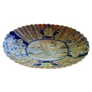 Antique Japanese Satsuma Fluted Tray   Meiji Period.. 1868-1912  Children Playing