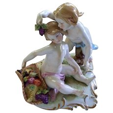 Vintage Capodimonte Giuseppe Cappe Two children with Basket of Fruits