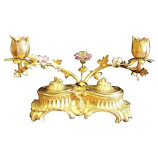 Antique French Rococo Gilt- Bronze Double Inkwell w/Candlesticks & Porcelain Flowers  ca.1880