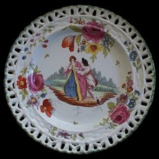 Antique French Faience Veuve Perrin Plate of  Lovers