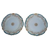 Pair of Antique Theodore Haviland Sevres-Style Limoges Plates  Gold Trim  ca. 1900