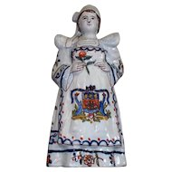 """Antique French Faience Girl with Armorial & Bell     """"Le Rochelle"""""""