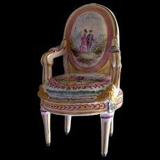 "Antique  French  Faience "" Marseilles "" Louis XVI  Chair dated 1777  Rare"