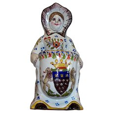 "Antique French Faience "" Mont St. Michel ""  Armorial /Lions  Girl Holding Basket"